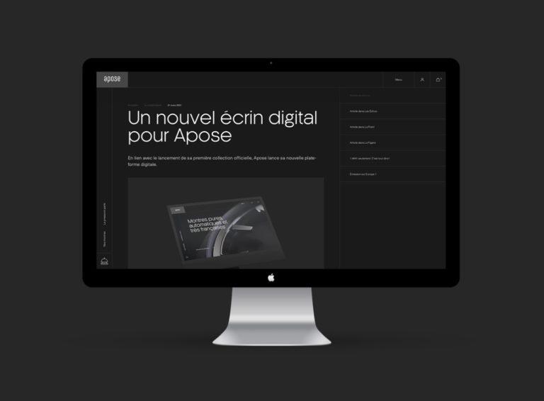 Apose, un webdesign e-commerce à succès pour les montres françaises
